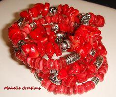 Chunky red bracelet, big bold red bracelet, statement beaded bracelet, memory wire bracelet, wrap around, boho gypsy hippie, fashion jewelry