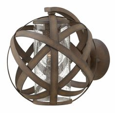 Hinkley Carson Vintage Iron Outdoor Wall Lantern Hinkley Carson Vintage Iron Outdoor Wall Lantern Overlapping strips of metal creating an atom-like sphere in a vintage iron finish house a seeded glass shade. Outdoor Barn Lighting, Outdoor Wall Lantern, Outdoor Wall Sconce, Exterior Lighting, Outdoor Walls, Cabin Lighting, Iron Rust, Lustre Design, Hinkley Lighting