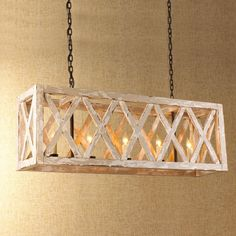 5 Light Wood Lattice Island Chandelier- A DIY project! I really like this