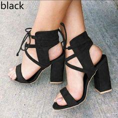 793ea43a2498 Women Pumps Sexy High Heels Sandals Women Summer Suede Plus Size 35-43  Ladies Thick Heel Ankle Strap Open Toe Sandals BTD1024