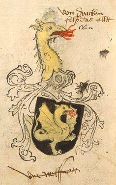 von Drachenfels (German) (f°124v) -- Tirol (Anton), Wappenbuch -- BSB Cod.icon. 310, [S.l.] Süddeutschland, 1490-1540