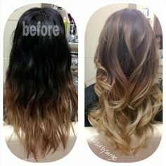 Transformation. Black to caramel in one session. Balayage. Hand painted ombrey