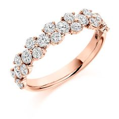 18k Rose Gold Round Staggered Claw Set Diamond Wedding Eternity Ring 1.20ct Citywest Jewellers Wedding Cakes, Wedding Rings, Eternity Rings, 18k Rose Gold, Diamonds, Jewels, Engagement Rings, Top, Wedding Gown Cakes
