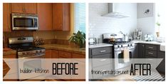 love this before & after kitchen makeover, especially the dark charcoal cabinets on the bottom.