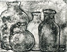 Bottles - 6 x 8 Collograph, $300 by Marge Bride #BERKSHIRES #COLLOGRAPH #ART #SHAKER