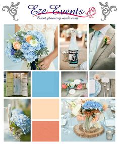Blue is a classic colour for weddings this year try powder blue, peach and coral. Check out this palette for a rustic wedding. For more inspiration please visit us at https://www.facebook.com/EzeEvents #ezeevents