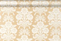 Tatton Gold Damask Wallpaper - love the pale gold colour and the subtle rococo motifs here