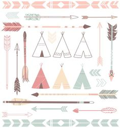 Teepee Tents And Arrows Collection - Hipster Style Stock Image