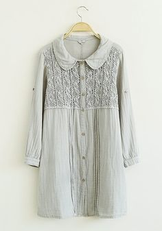 Grey Flowered Lace Linen Blouse