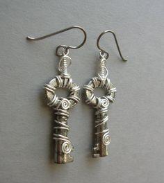 Silver Swirl Wire Wrapped Key Earrings by silverowlcreations