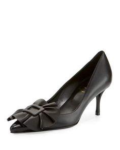 ROGER VIVIER Ruffle Buckle Leather 65Mm Pump, Black. #rogervivier #shoes #pumps