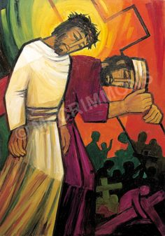 5. Simon of Cyrene helps Jesus carry his cross by The Benedictine Sisters of Turvey Abbey #Lent