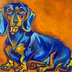 """Dachshund""  36x36""  Acrylic on canvas"