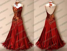 New Burgundy Satin Ballroom Dance Competition Dress | eBay