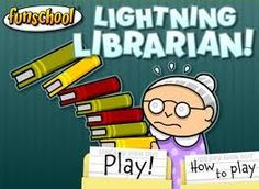 Library skills--librarian game. Fun!  But I dislike the steroyptype of the old gray haired, bun wearing librarian.  Just saying...