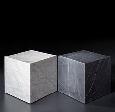 RH Moderns Marble Plinth Cube Side TableBoth American And Italian Designs Of The 1970s Informed Our Tables Geometric Proportions Flat Planes Clad In