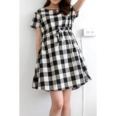 Color Block Short Sleeve Round Collar Drawstring Plaid Women's Dress