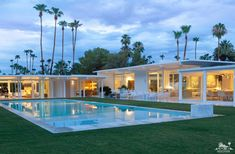 A Mid-Century, White, Palm Springs Oasis John Porter Palm Springs mid-century pool Palm Springs Houses, Palm Springs Style, Palm Springs California, California Usa, Southern California, Palm Springs Mid Century Modern, Modern Homes For Sale, Casa Clean, Modern Pools