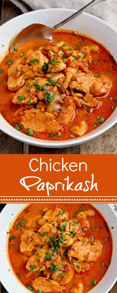 Classic Hungarian comfort food, chicken in paprika sour cream gravy.