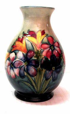 Vintage Walter Moorcroft English Pottery Spring Flowers Vase | eBay