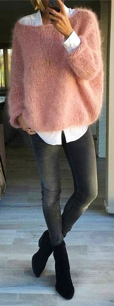 Pink Wool Knit + White Shirt