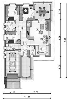 Rzut parteru projektu Tip Top Bis Tip Top, House Plans, Floor Plans, How To Plan, Floor Layout, Projects, Blueprints For Homes, Home Plans, House Floor Plans