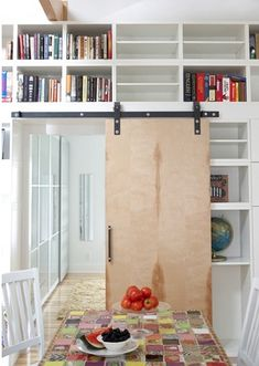I've wanted to put in sliding doors in small rooms where I can't put pocket doors! Interior Barn Doors, Home Interior, Interior Design, Small Rooms, Small Spaces, Sliding Barn Door Hardware, Sliding Doors, Sliding Door Bookcase, Space Saving