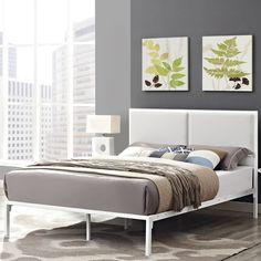 Della Upholstered Vinyl Platform Bed