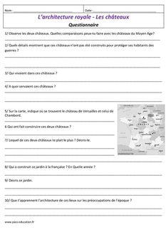 Architecture royale - Les châteaux – Cm1 - Cm2 – Arts de l'espace - Histoire des arts – Temps modernes - Cycle 3 - Pass Education