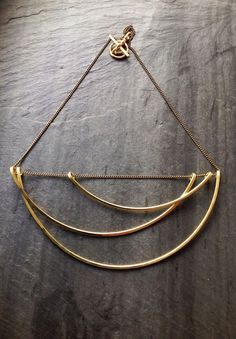 Large Geometric Tidal Necklace- By Loop Jewelry-large collar necklace-deco-portland jewelry-hollow-linear design-brass-sterling silver-ocean