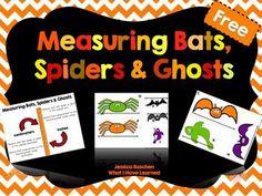 Measuring Bats, Spiders & Ghosts {Halloween Freebie} This free printable is SUPER cute!