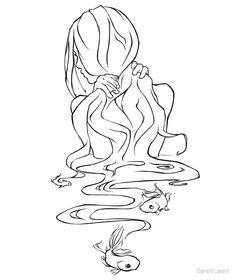 girl in water ~ girl in water - girl in water drawing - girl in water photography - girl in water painting - girl in water art - girl in water aesthetic - girl in water tattoo - girl in water sketch Outline Art, Outline Drawings, Art Drawings Sketches, Fantasy Drawings, Artwork Drawings, Water Drawing, Water Art, Water Sketch, Fish Sketch