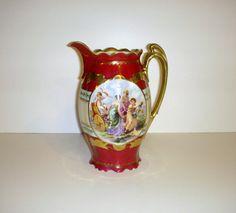 Dark Red Gold Pitcher Coffee Pot  Cupid Chariot Greek by karen6790