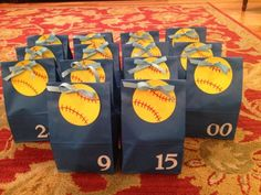 Softball goodie bags for the team! Change softball to basketball. Softball Goodie Bags, Softball Treats, Softball Team Gifts, Softball Tournaments, Softball Party, Softball Coach, Girls Softball, Softball Players, Goody Bags