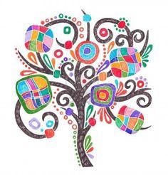 dessin marqueur doodle de l'arbre fleuri Banque d'images