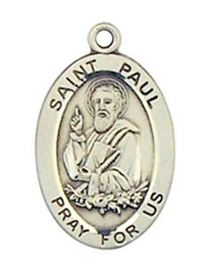 Patron Saint Paul 78 Inch Oval Sterling Silver Medal Pendant *** Click on the image for additional details.