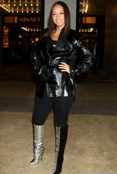 Alicia Keys in Leather and Black/Silver Knee Boots