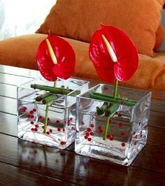 Table floral decoration with red Anthurium - Fiore Floral Decor Ideas Contemporary Flower Arrangements, White Flower Arrangements, Ikebana Flower Arrangement, Ikebana Arrangements, Centrepieces, Deco Floral, Arte Floral, Floral Design, Flower Show