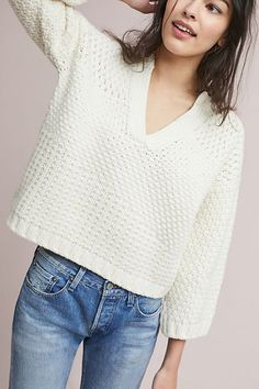 woven cream knit pullover sweater
