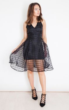 Alice Grid Mesh Flare Dress Black - SilkFred Cami Midi Dress cc53cfc999dd