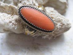 Natural Coral Sterling Silver Gilt  Ring