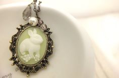 Bunny+Necklace++Apple+Green++Rabbit+Cameo+by+LittlePiecesWithLove,+$14.99