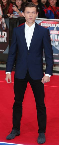 British actor Tom Holland wearing Burberry tailoring at the Captain America Civil War premiere in London