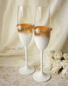 Gold Art Deco Gatsby Style Wedding Champagne Flutes Wedding Champagne Glasses Gatsby Style Wedding Toasting Flutes Gold and White Wedding