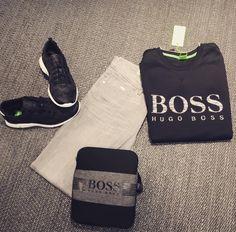 @vibesenschede  #HugoBoss #hugobossgreenline #vibesenschede #haverstraatpassage #Enschede #jeans #sweater #shoes #messengerbag