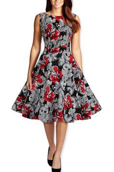 Gray Floral Vintage Dress