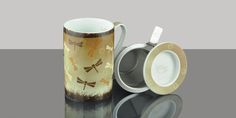 Mug cylinder Dragonfly brown