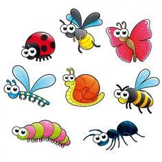 Insecte   Vecteurs, Photos et PSD Gratuits Bug Cartoon, Cute Cartoon Animals, Baby Motiv, Bugs And Insects, Whimsical Art, Art Plastique, Rock Art, Painted Rocks, Vector Art