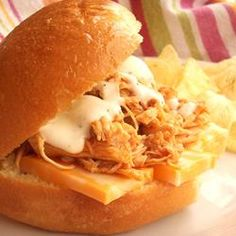 Buffalo Chicken Sandwiches.  Made these last night, except I used my pressure cooker instead of Crock Pot.