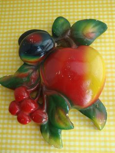 Luscious Vintage Chalkware Fruit Cluster.  My mom had this.